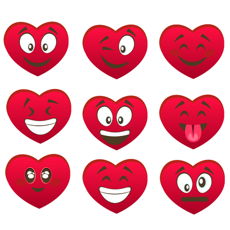 Valentine set of heart smiles. Illustration