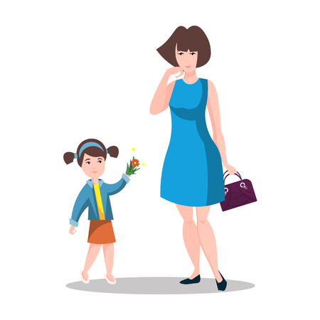 Little daughter gives mom a gift for Mother's Day. Illustration