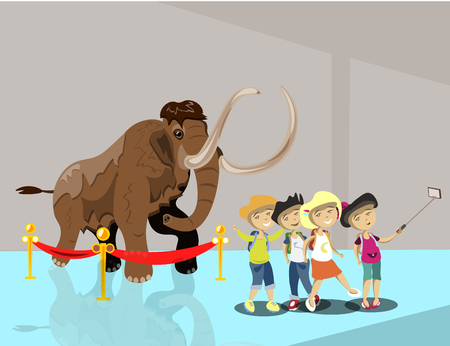 Kids in museum. Children make selfie