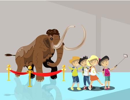 Enfants au musée. Les enfants font selfie Vecteurs
