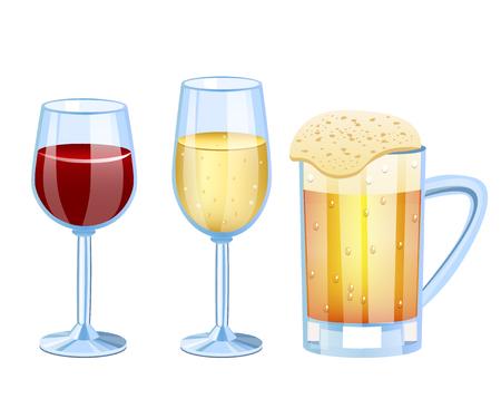 Champagne, bier, wijnstok ingesteld glas Vector illustratie