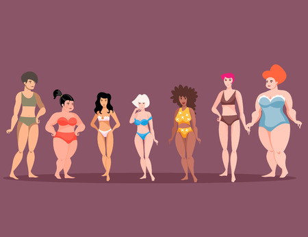 Women of different height and figure type . Vector illustration.