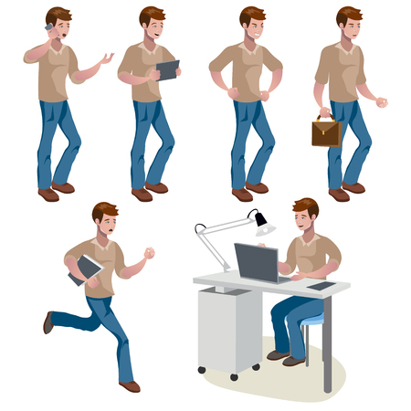 Man different poses. Cute man. Vector illustration