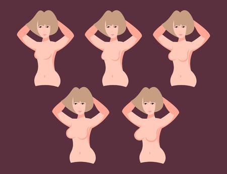 女性異なる胸のサイズ  イラスト・ベクター素材