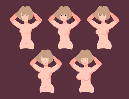 Woman different breast size Stock Illustratie