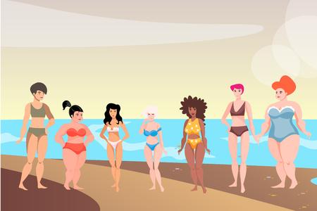 Bikini girls with colored skin tone standing