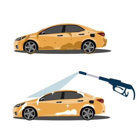 Cool on dirty and clean car. Vector illustration