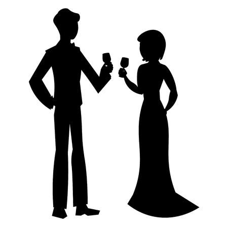Elegant couple in evening dress silhouette Çizim