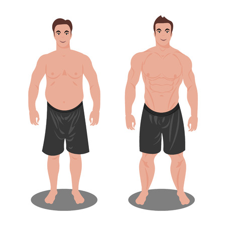 Man before and after sports. Illustration