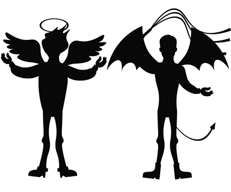 Angel and demon silhouette isolated on white background. Ilustração