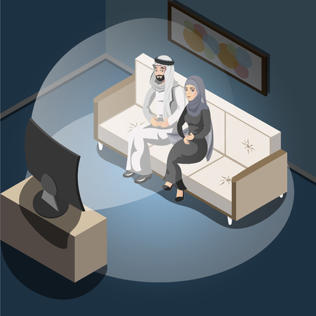 Arab couple watching tv.