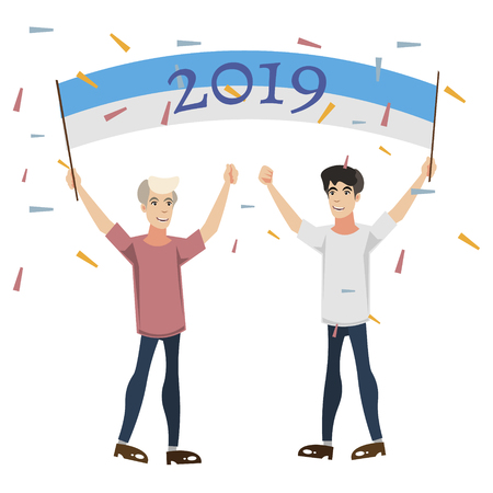 2019 New Year with people celebrating vector illustration