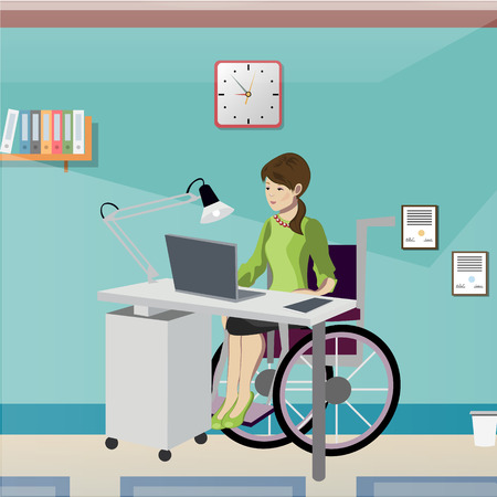 Disabled young woman in wheelchair working in the office vector illustration Ilustração