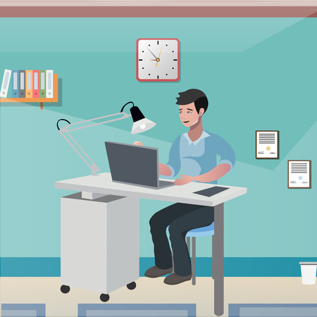 Business man in the office vector illustration