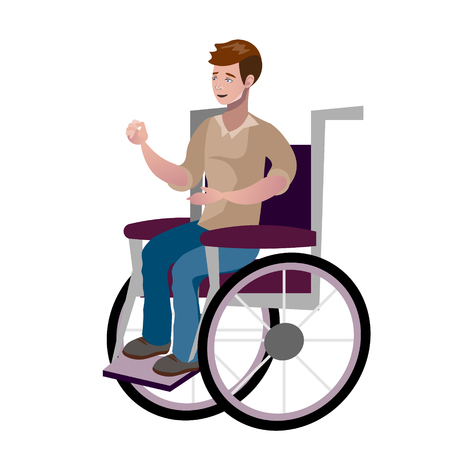 Disabled young man in wheelchair vector illustration