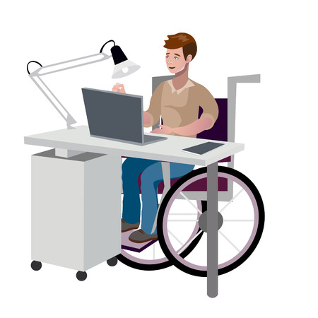 Disabled man in wheelchair working with computer. Vector illustration