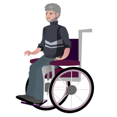Old man grandfather disabled in wheelchair. Vector illustration