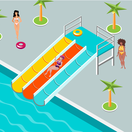 People at aqua park. vector illustration flat design