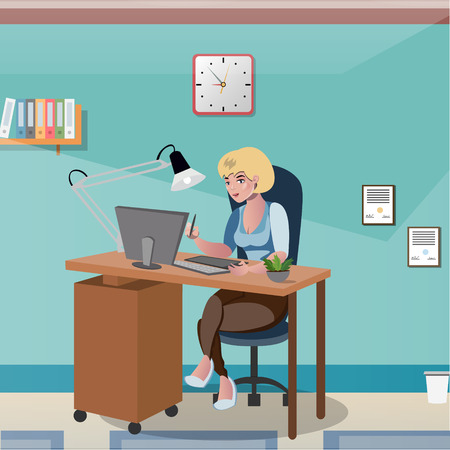 Businesswoman sitting at the desk working with computer vector Illustration