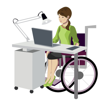 Young woman in wheelchair working with computer Vector flat style cartoon illustration Illustration