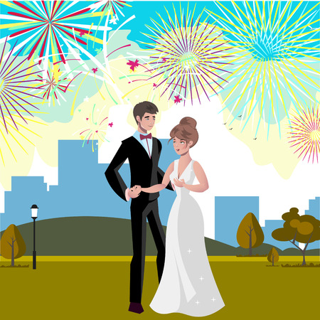 Wedding invitation card with couple and firework. Vector illustration