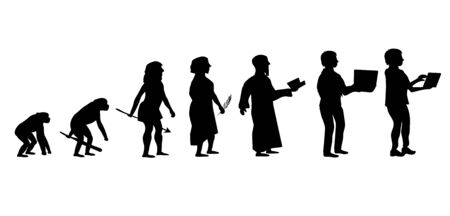 Theory of evolution of man silhouette. Vettoriali
