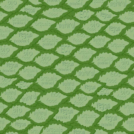 Seamless pattern with leaves and words organic.