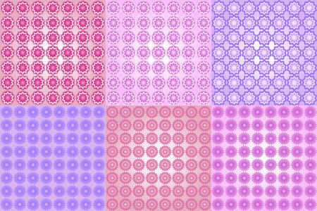 Set abstract geometric flowers pattern