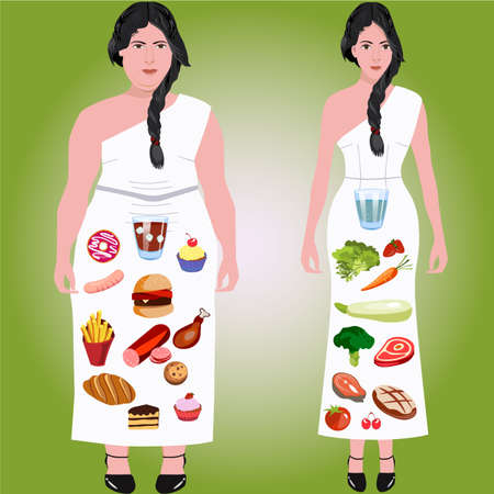 Woman can chose between health and junk food for weight control  イラスト・ベクター素材
