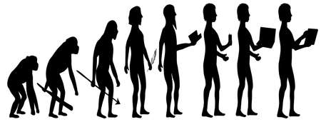 Silhouette evolution from monkey to man Illustration