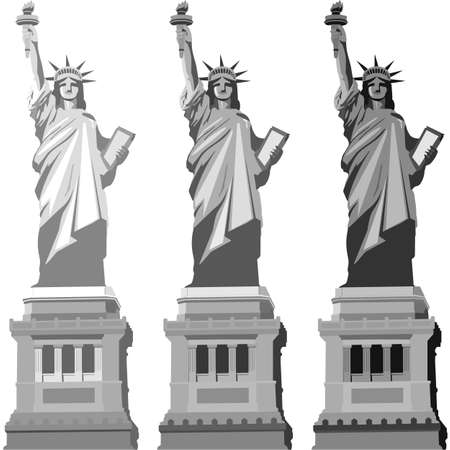Statue of liberty in different grayscale gradients