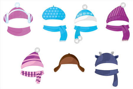 Set of hats and scarves for boys and girls