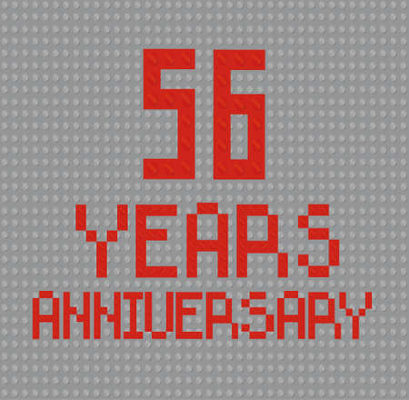 The inscription from  brick toy 56 years anniversary Stock Illustratie