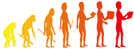 Silhouette evolution from monkey to man 矢量图像