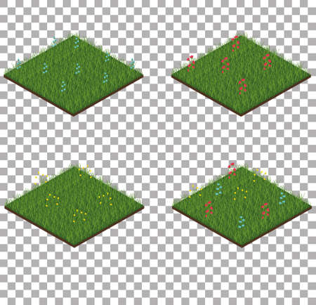 Set of isometric grass tiles with flowers Reklamní fotografie