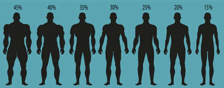 Man silhouettes with different muscle degrees. Stock Illustratie