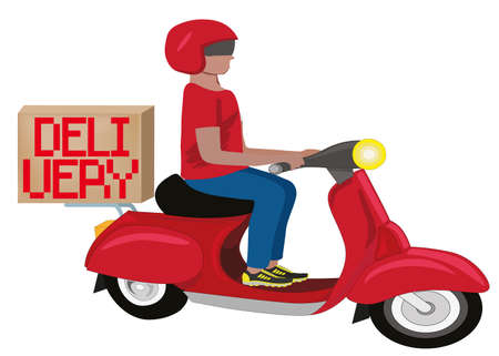 Vector illustration cartoon character courier man in helmet carries container box. Man courier rides a red motorcycle. Vektorgrafik