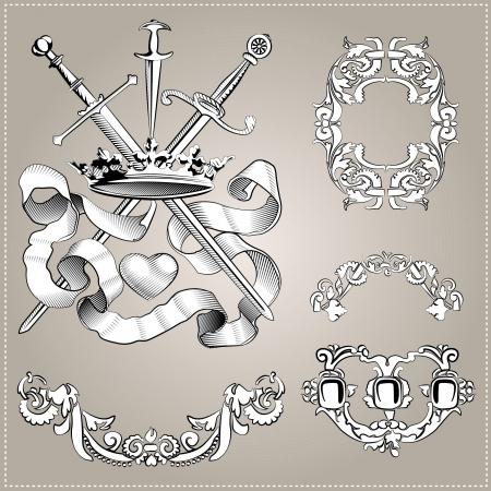 heart sword artwork engraving vector vintage illustration