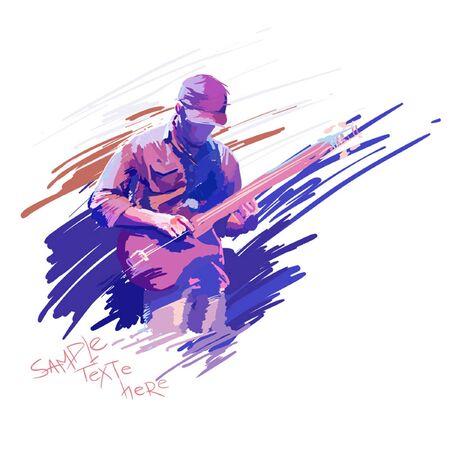 live band: guitar man vector Illustration