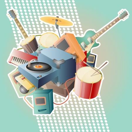 Resumen ilustración vectorial de música