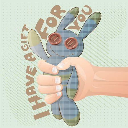gift  rabbit vector illustration Ilustracja