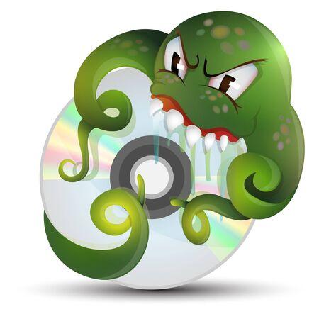 cartoon characters computer virus illustration Stock Vector - 14079095