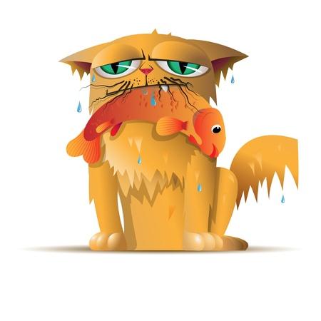 gato dibujo: peces gato rojo Vectores