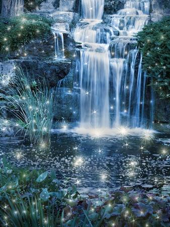 Magic night waterfall scene photo