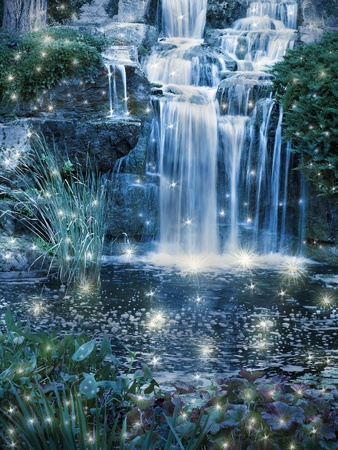 fantasy: Magic night waterfall scene