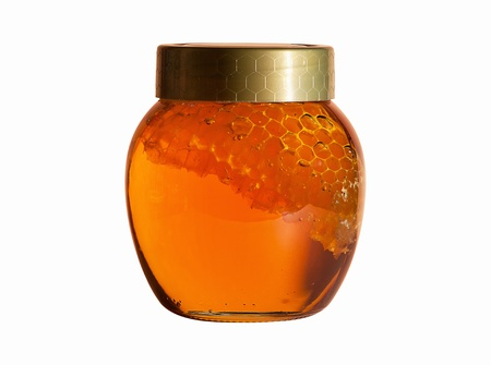 Jar of Honey with honeycomb  photo