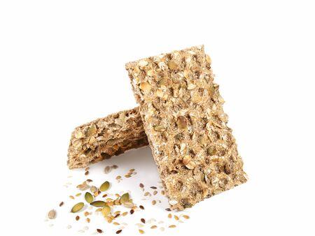2 slices of wholegrain rye crispbread with seeds  photo