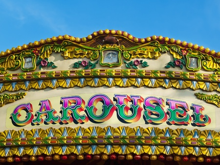 fairground: Carousel detail - colorful sign  Stock Photo