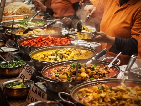 food buffet: Indian food at London market