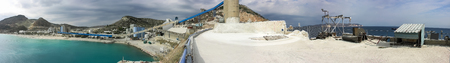 A panorama or a panoramic view of a large area of a bentonite processing plant in Greece. At the bottom  is clearly seen water coming here from the Aegean Sea.